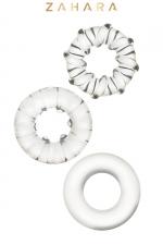 3 Cockrings Strech Rings Clear - Zahara : Set de 3 anneaux péniens extensibles en TPR permettant de stimuler les fonctions érectiles. Transparent.