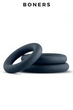 Kit de 3 anneaux de pénis - Boners : 3 cockrings classiques de dimensions différentes en silicone extensible, doux et confortable à porter, idéal pour les débutants comme les experts.