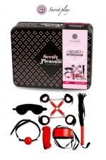 Kit BDSM 8 pièces - Rouge & Noir : Superbe kit de 8 pièces BDSM présenté dans une boite cadeau en métal.