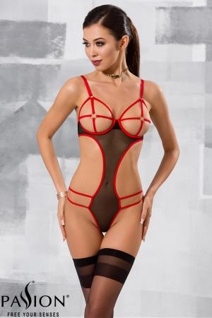Body Hera - Noir : Body en fine résille noire et sangles élastiques rouges, absolument sexy.