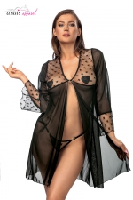 Déshabillé  Roisin - Anaïs - Déshabillé en tulle et fine résille à motif étoilé, avec son string assorti.