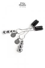 Bijoux de seins réglables - Fifty Shades Of Grey : 1 Paire de pinces à seins réglables de la collection officielle Fifty Shades of Grey.